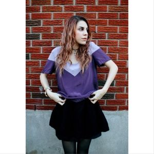Tops - Purple Satin Two-toned Top